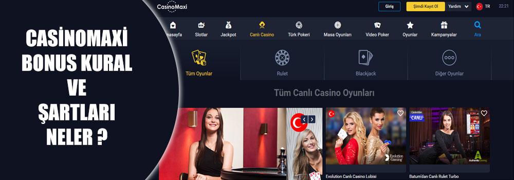 Casinomaxi Bonus Kural ve Şartları Neler?