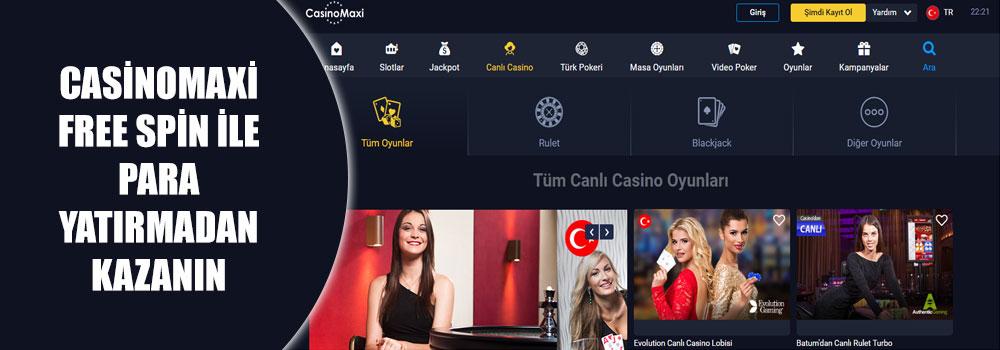 Casinomaxi Free Spin İle Para Yatırmadan Kazanın